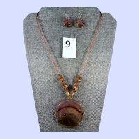 Italian Murano Venetian Glass Pendant Necklace and Round Disc Pierced Earrings