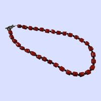 Red Coral with Black Bead Necklace