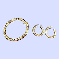 Silver with Gold Overlay Bangle Bracelet and Hoop Earrings