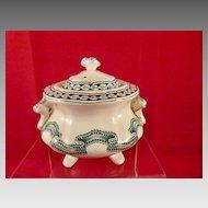 c. 1861 J & R Godwin Rippled Ribbon Band Child's English Toy China Sugar Bowl