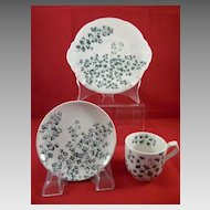 3 Pieces of Maiden Hair Fern Children's China Ridgways England c.1881