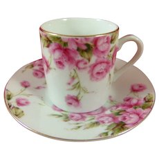 Lefton China Demi Tasse Roses Cup and Saucer