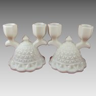Imperial Glass Co. Milk Glass Pair Double Candlesticks