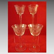 4 Etched Vintage Wine Stem Glasses