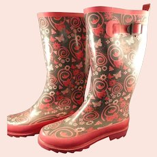 Pink Butterflies Rubber Boots Ladies US Size 7