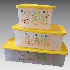 Set of 3 Tupperware Fridge Smart Sunny Yellow Containers