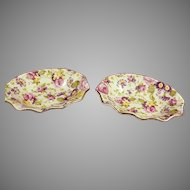 """Two James Kent Rapture Chintz Nut or Trinket Dishes 4 x 3"""""""