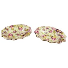 Two James Kent Rapture Chintz Nut or Trinket Dishes 4 x 3""