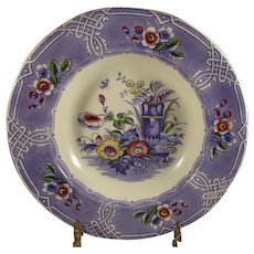 Ironstone Transfer Ware Soup Bowl Indian Pattern Purple Floral