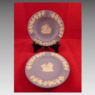 Pair of Blue Wedgwood Jasperware Ashtrays 4.5 Inches
