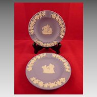 Pair of Blue Wedgwood Jasperware Ashtrays 4.5 Inches