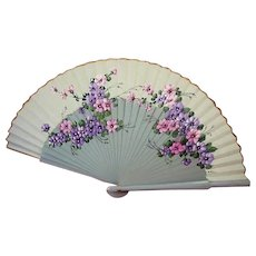 Hand Painted Linen and Wood Fan