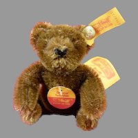 "Steiff Original Teddy Bear 0206/11 Seated 3"" All tags and button Chocolate Brown"