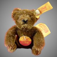 """Steiff Original Teddy Bear 0206/11 Seated 3"""" All tags and button Chocolate Brown"""
