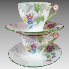 Two Delphine China Cups and Saucers Made in England