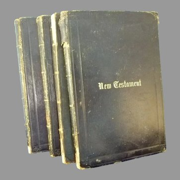 Set of 4 books New Testament, c. 1857 Large print Gold ends
