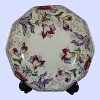 "Ironstone 8.5"" Plate Furnival 'Lily' c. 1845"