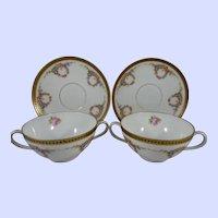 Vintage Pair of Austria Porcelain Cream Soup Cups and Saucers