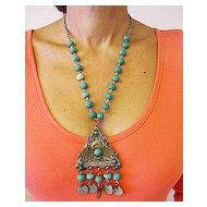 Old Anatolian  Necklace Rough Turquoise Beads