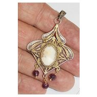 19 th Century Gilded Sterling Filigree Cameo Italian Pendant with Rubies