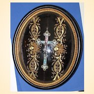 Micro Mosaic Cross In Original Bubble Glass Frame With Gold Thread Embroidery –RARE-