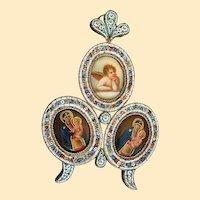 V.Rare XIXth Century Religious Miniatures on Porcelain in Micromosaic Frame