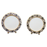 Vintage Millefiori Micro Mosaic PAIR of Round Photo Frames New Old Stock Pristine Rare