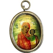 XIXth Century Russian Mini Icon – Our Lady of Kazan – in Sterling Medallion Frame – V.Rare