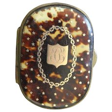 Napoleon 3 period Antique French Coin Purse with Gold Monogram and Starry Decorations