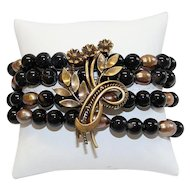 Unique Vintage Brooch Pin & Black Agate and Pearl Bracelets