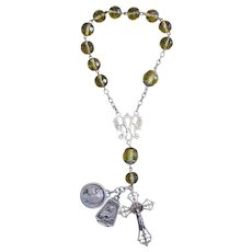 Early XXth Century Crystal and Sterling One Decade Travel Rosary with Very Rare Sterling Silver Medals