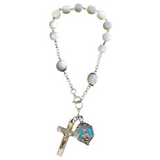 1930's Communion M.O.P. Rosary Bracelet with Sterling Silver and Enamel Medals.