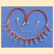 1950 Vintage Enameled Rosary Centers Upcycled into Necklace W Coral and Sterling Silver