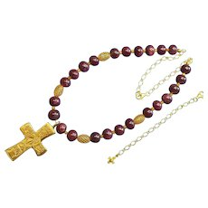 Ruby and Vermeil Necklace with Artisan Handmade Repro of XIth Century French Cross Pendant