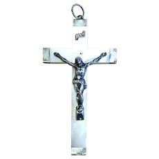1880 First Communion Souvenir Mother of Pearl and Sterling Silver, French, Large Cross - Crucifix