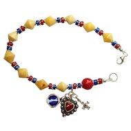 Catholic Rosary Bracelet Rosenkranz Vintage Butterscotch Amber Lapis Coral and Vintage Sterling Silver Charms