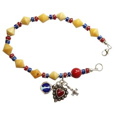 Catholic Rosary Bracelet Rosenkranz Vintage Butterscotch Amber Lapis Coral and Vintage Sterling Silver Charms