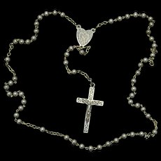 Vintage All Sterling Catholic Rosary in Tiger Cowry Shell box – Rare and Charming - 1930's