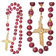 2 Way Wearable Beaded CHOTKI KOMBOSKINI Genuine Ruby, Vermeil Antique Filigree Cross - ORTHODOX Rosary