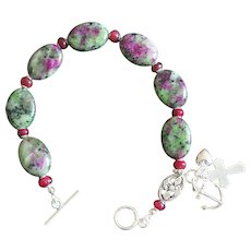 Anglican Episcopal Rosary Bracelet: Ruby Zoisite, Ruby & Sterling Silver - rare