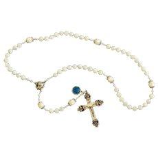 Catholic Rosary Mother Of Pearl, Sterling Vintage Cross & Enamel Medal - Rosenkranz Antik Kreuz