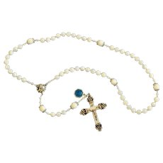 Catholic Rosary Mother Of Pearl, Sterling Vintage Cross & Enamel Medal - Rosenkranz Antik Kreuz