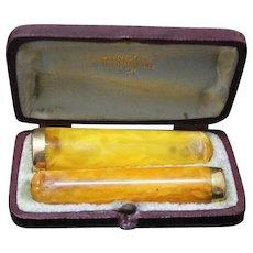 Vintage Early 1900's Butterscotch Amber w 18 K. Gold Rim, Cased Set Cigar & Cigarette Holders - LANCEL