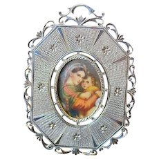 Late XIXth Century Fine Miniature Hand Painting - Madonna of the Chair - in Sterling Frame