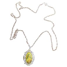 XIXth Century Gold and Sterling Medal Pendant of Hand Painted Miniature of St. Therese with Sterling Chain - EXCEPTIONAL