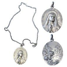Large, Highly Exceptional 3D High Relief Mary Immaculate Conception Sterling Medal & Chain by Vernon 1904 - Unique - XXXR