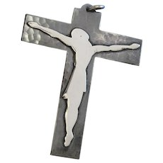 1950's Silver Plated Metal Stylized Cross Crucifix -By Jean Despres