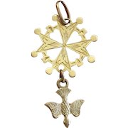 1930's French Pendant Medal 2.9 g - 18k Solid Huguenot Cross Vintage & Pristine condition