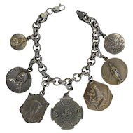 Vintage Sterling Silver Charm Bracelet with 7 Rare Double Sided Pristine Large Religious Medals