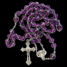 Art Nouveau Amethyst and Sterling Silver Catholic Rosary early 20th – French - Rare